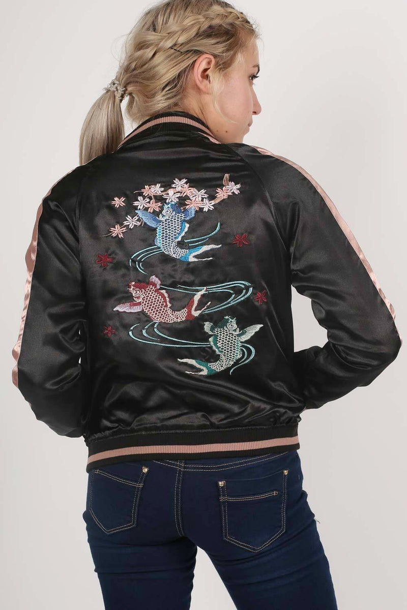 Embroidered Satin Bomber Jacket in Black 2