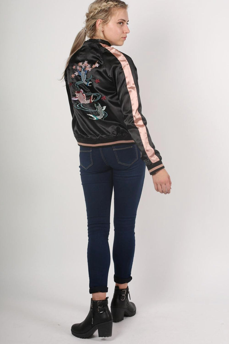 Embroidered Satin Bomber Jacket in Black 5