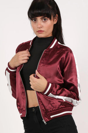 Embroidered Satin Bomber Jacket in Wine Red 0