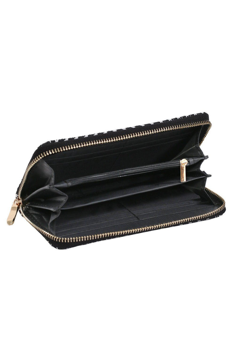 Embossed Star Clutch Purse in Black 4