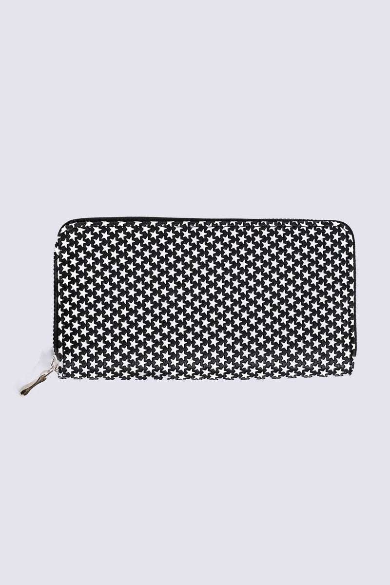 Embossed Star Clutch Purse in Black 3