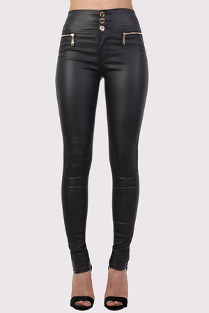 Faux Leather Three Button High Waisted Skinny Trousers in Black 0