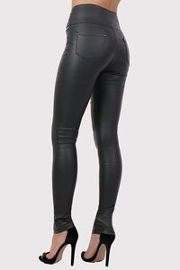 Faux Leather Three Button High Waisted Skinny Trousers in Black 1