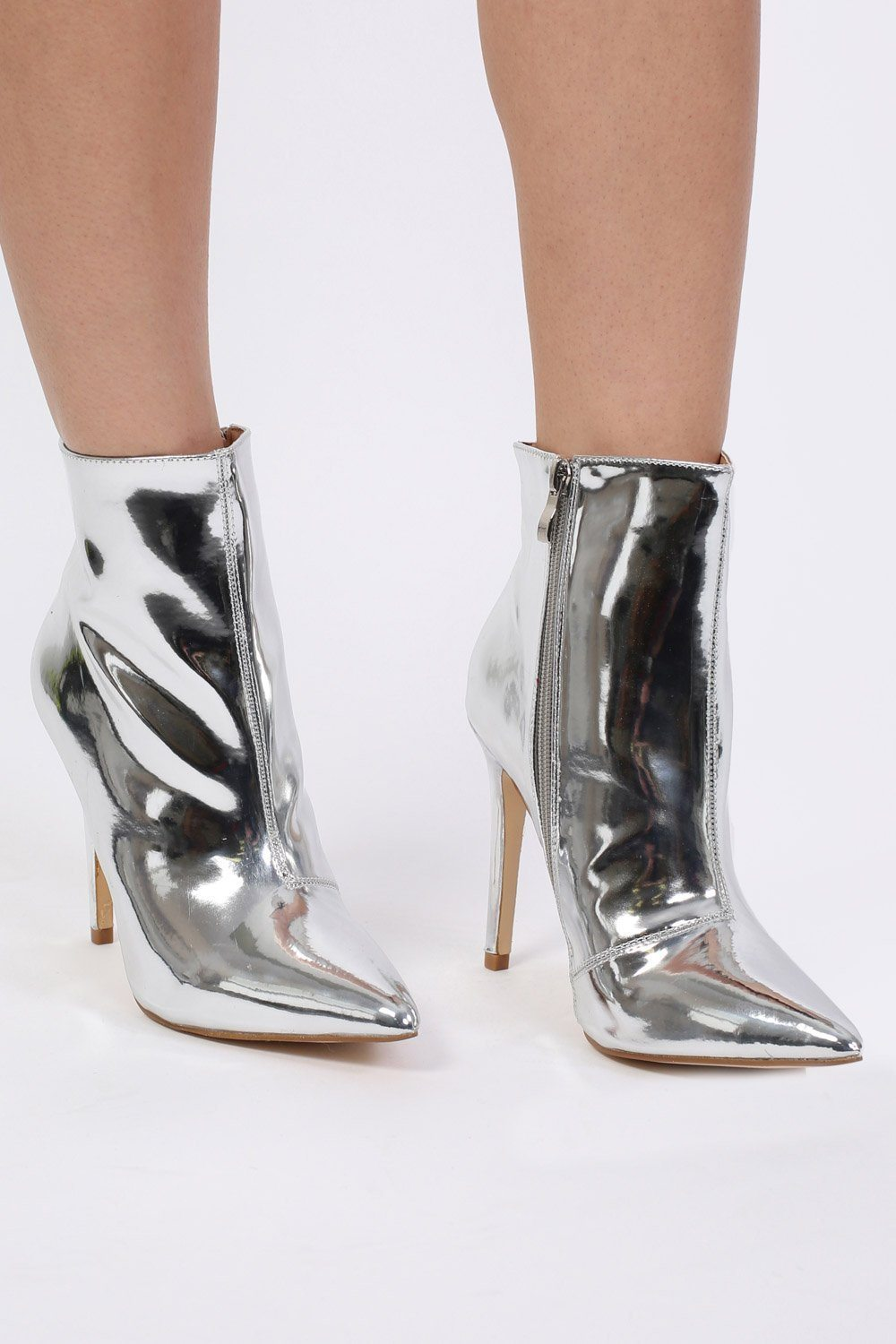 Metallic Pointed Toe Stiletto High Heel Ankle Boots in Silver 0