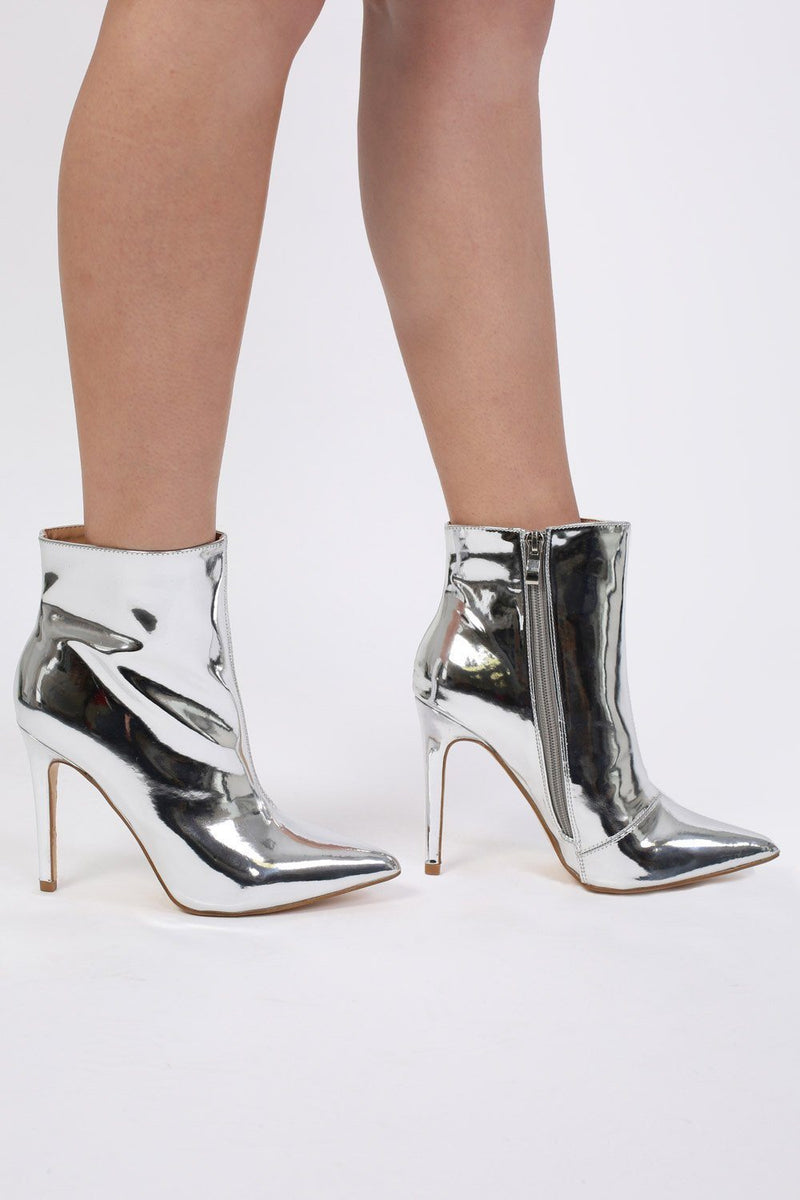 Metallic Pointed Toe Stiletto High Heel Ankle Boots in Silver 1