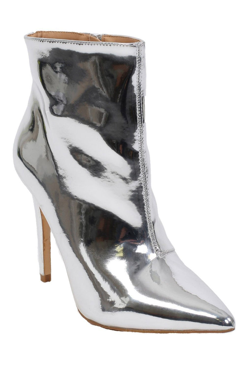 Metallic Pointed Toe Stiletto High Heel Ankle Boots in Silver 3