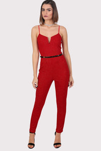 Sparkle V Front Strappy Jumpsuit in Red 0