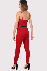 Sparkle V Front Strappy Jumpsuit in Red 1