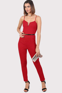 Sparkle V Front Strappy Jumpsuit in Red 3