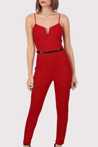 Sparkle V Front Strappy Jumpsuit in Red 4