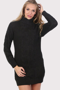 Cable Knit Long Sleeve Roll Neck Jumper Dress in Black 0