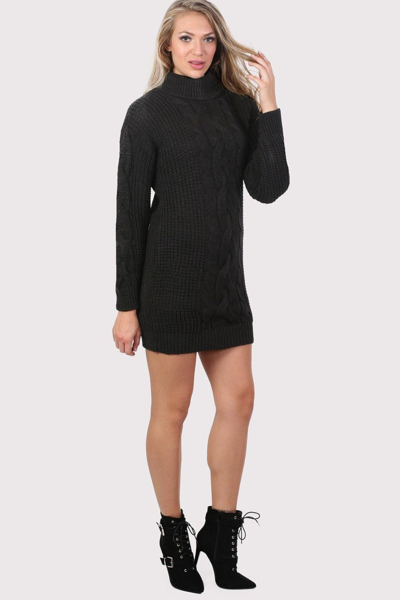 Cable Knit Long Sleeve Roll Neck Jumper Dress in Black 3