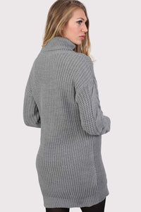 Cable Knit Long Sleeve Roll Neck Jumper Dress in Light Grey 1