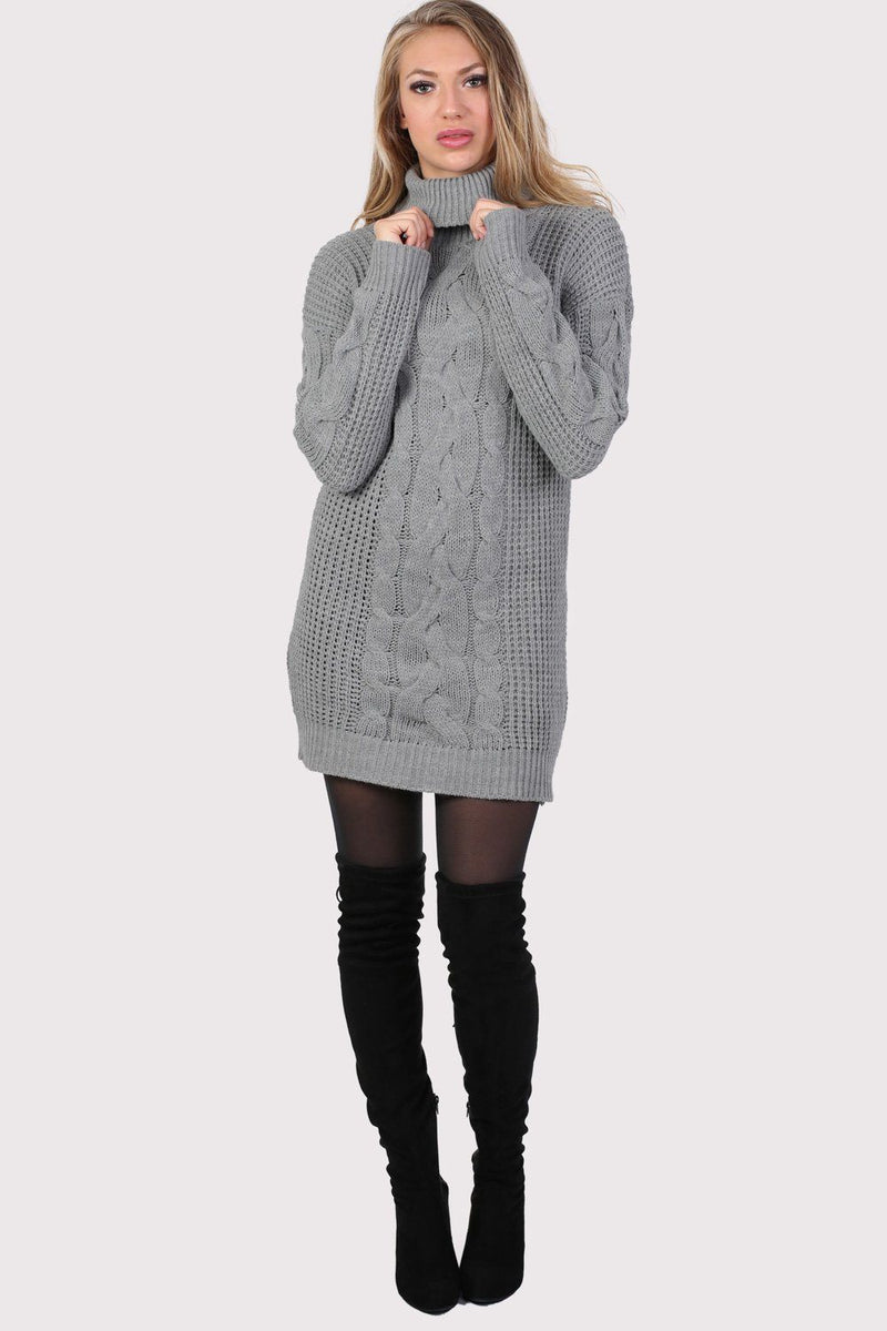 Cable Knit Long Sleeve Roll Neck Jumper Dress in Light Grey 3