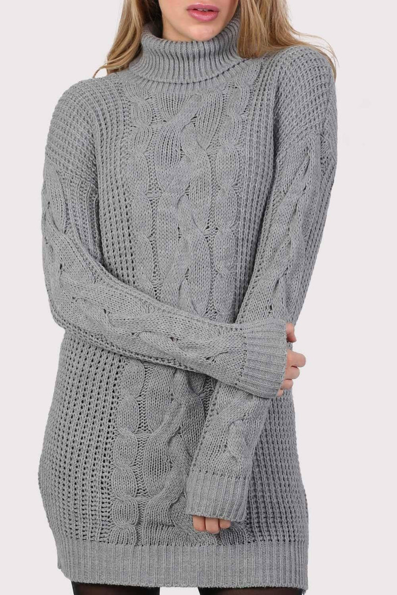 Cable Knit Long Sleeve Roll Neck Jumper Dress in Light Grey 4