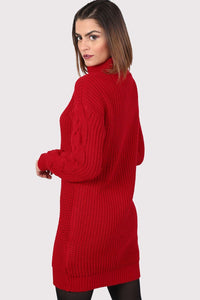 Cable Knit Long Sleeve Roll Neck Jumper Dress in Red 1