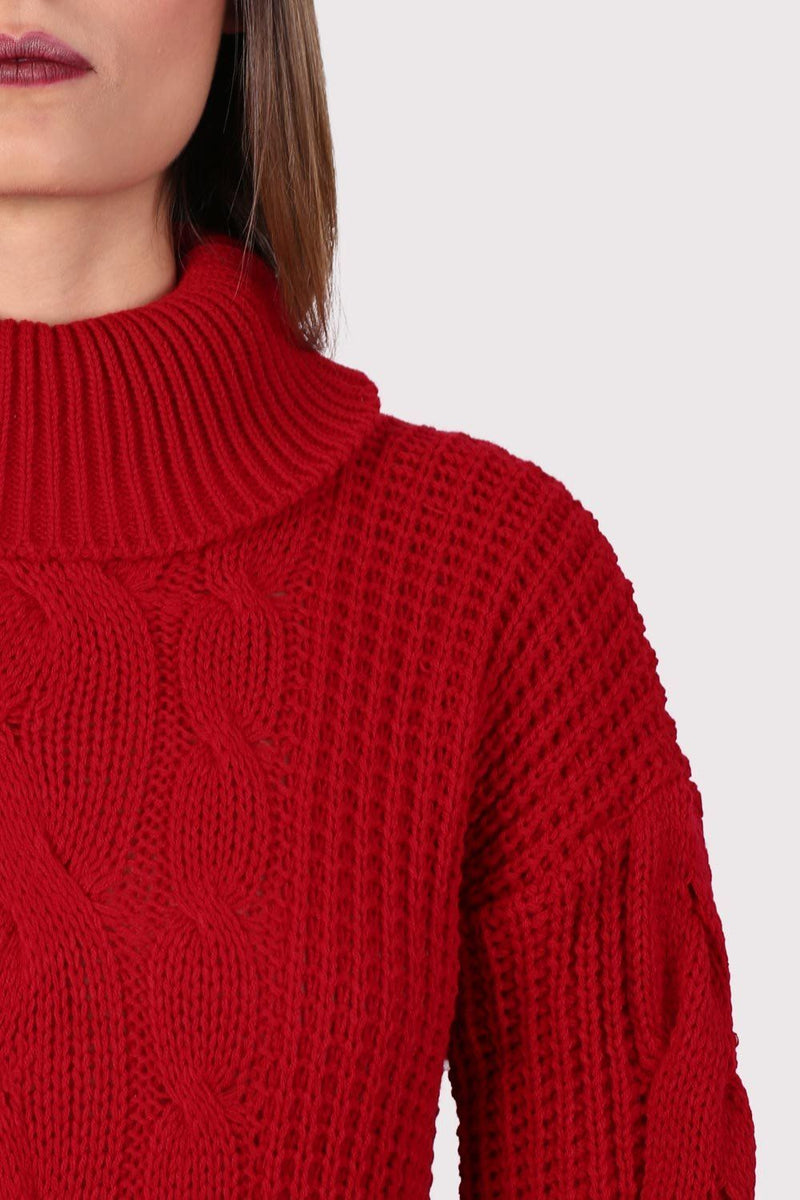 Cable Knit Long Sleeve Roll Neck Jumper Dress in Red 2