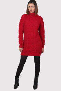 Cable Knit Long Sleeve Roll Neck Jumper Dress in Red 3
