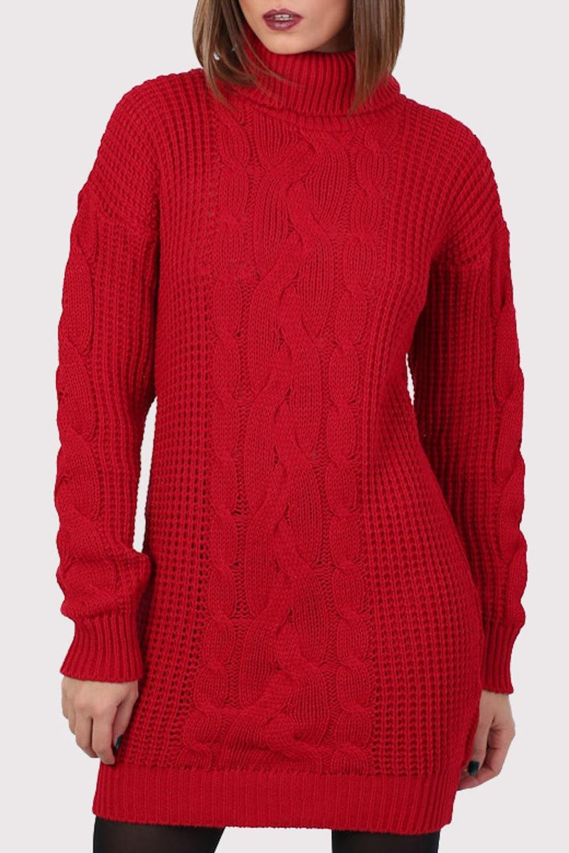 Cable Knit Long Sleeve Roll Neck Jumper Dress in Red 4