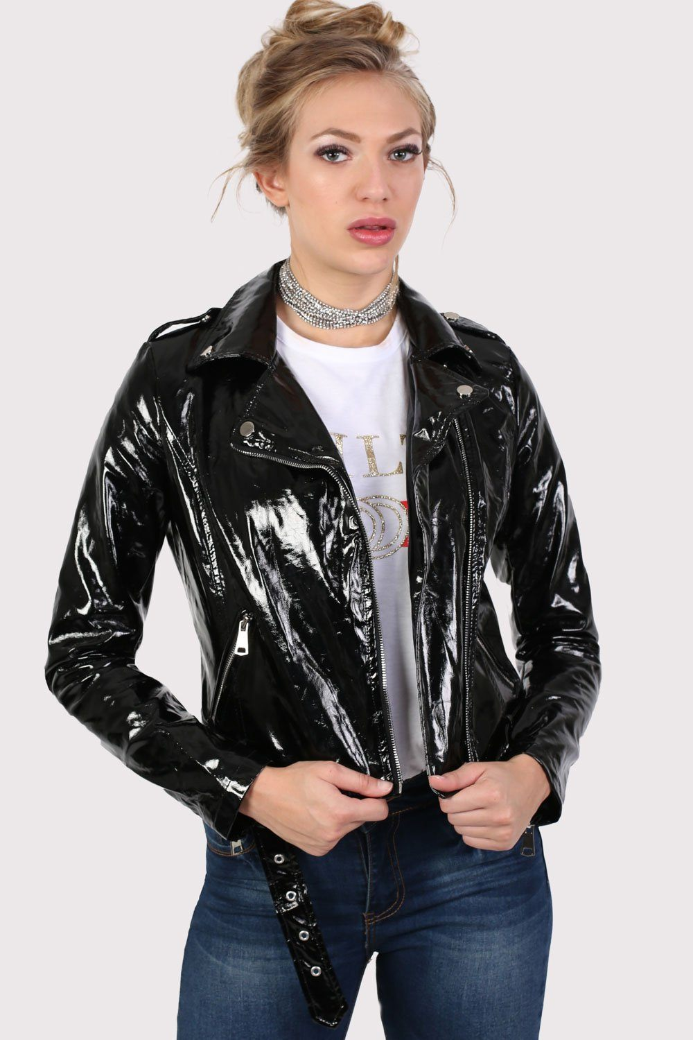 Vinyl Biker Jacket in Black 0