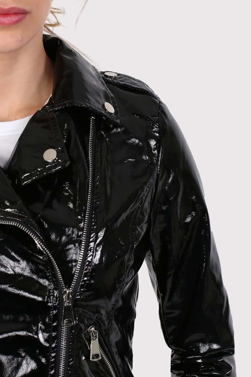 Vinyl Biker Jacket in Black 3