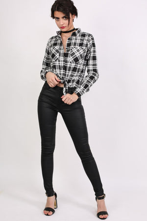 Check Flannel Long Sleeve Shirt in Black 3
