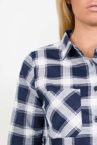 Brushed Check Shirt in Navy Blue 2