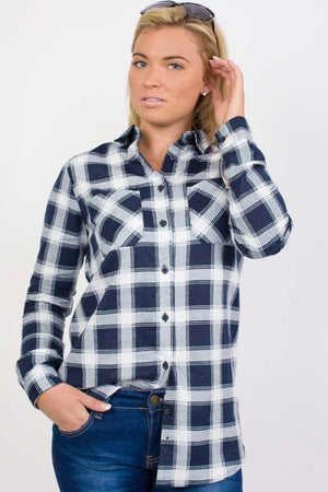 Brushed Check Shirt in Navy Blue 3