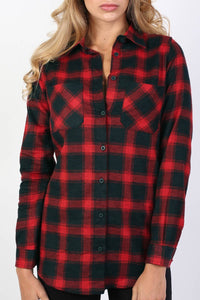 Brushed Check Shirt in Red 4