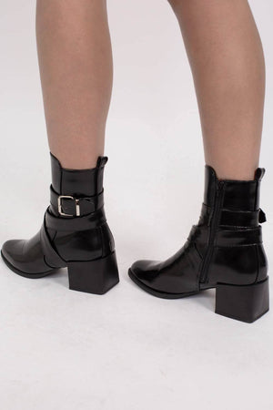Strap And Buckle Detail Block Heel Ankle Boots in Black 3