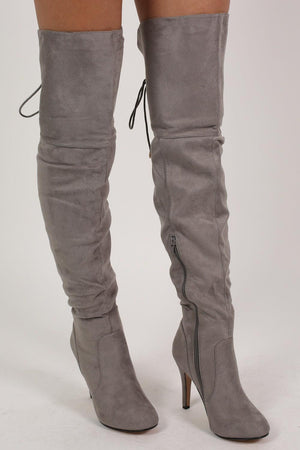 Faux Suede Over The Knee Stiletto High Heel Boots in Grey 2