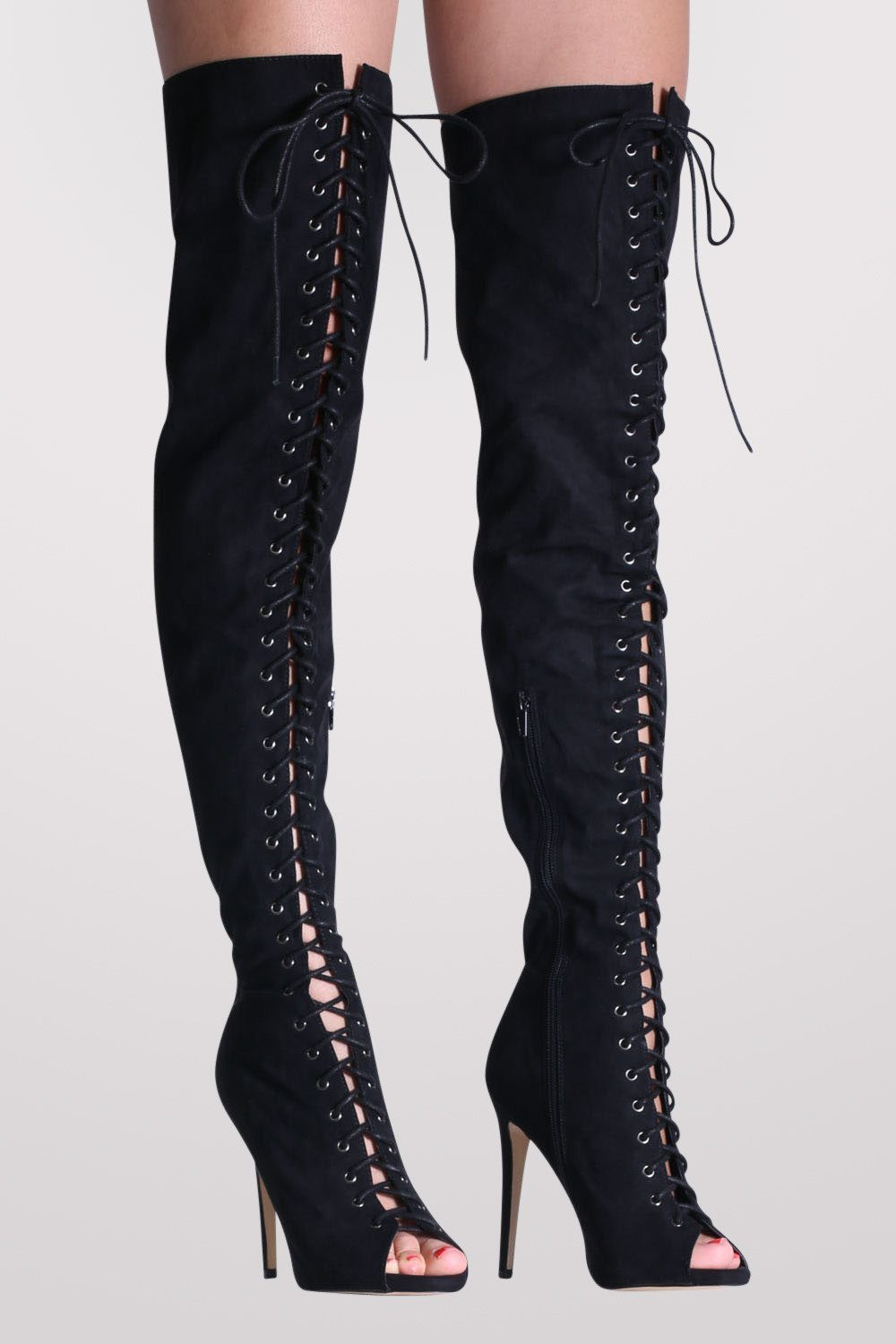 Faux Suede Lace Up Over The Knee Open Toe High Heel Boots in Black 0
