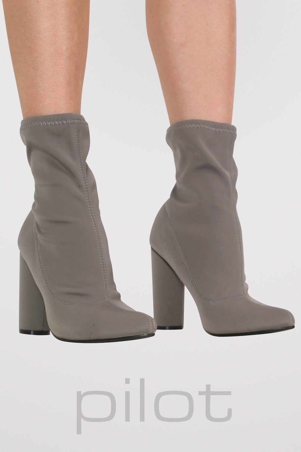 Pointed Toe Neoprene Block Heel Ankle Boots in Grey 0