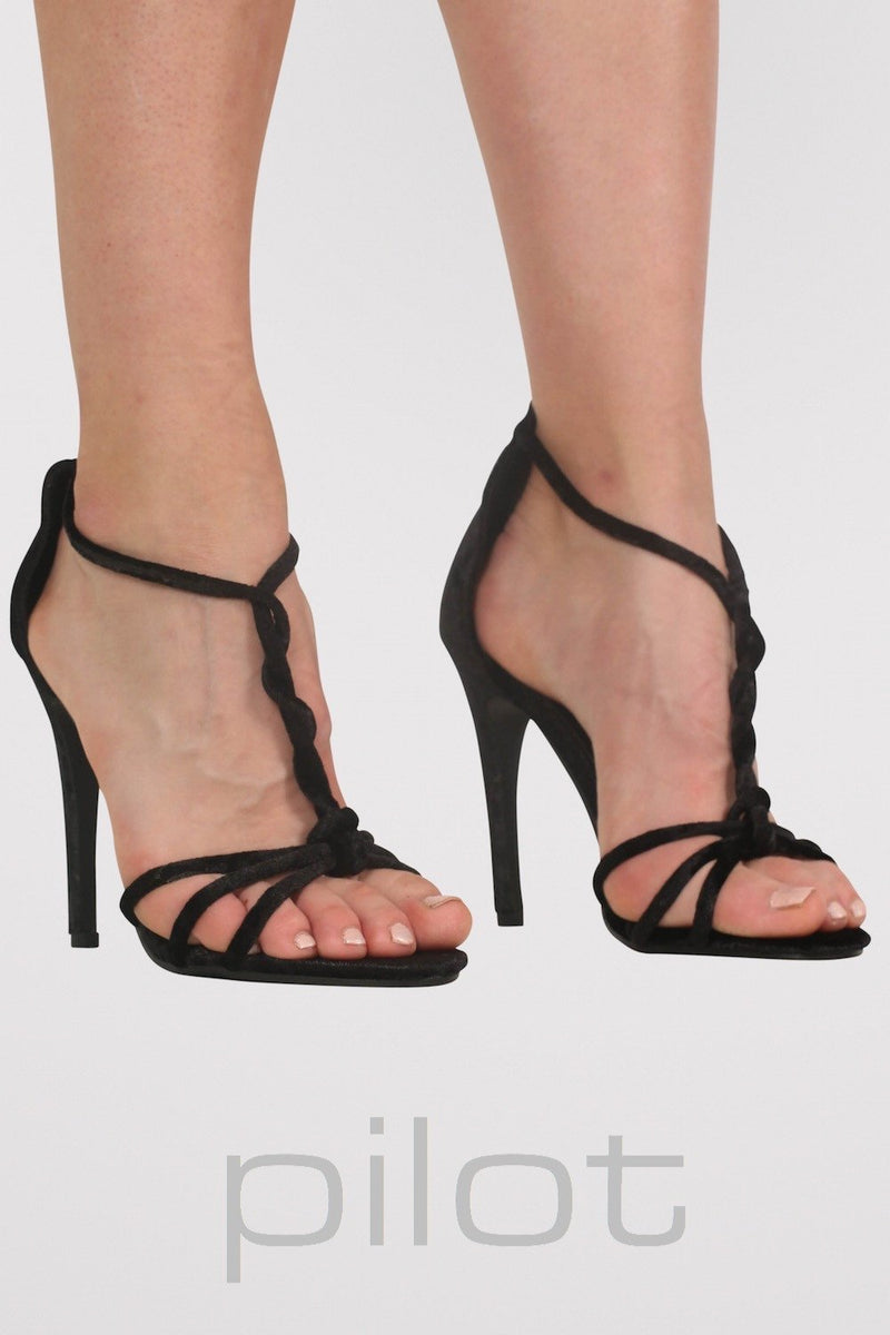 VELVET TWIST STRAP SLINKY HIGH HEEL SANDALS IN BLACK