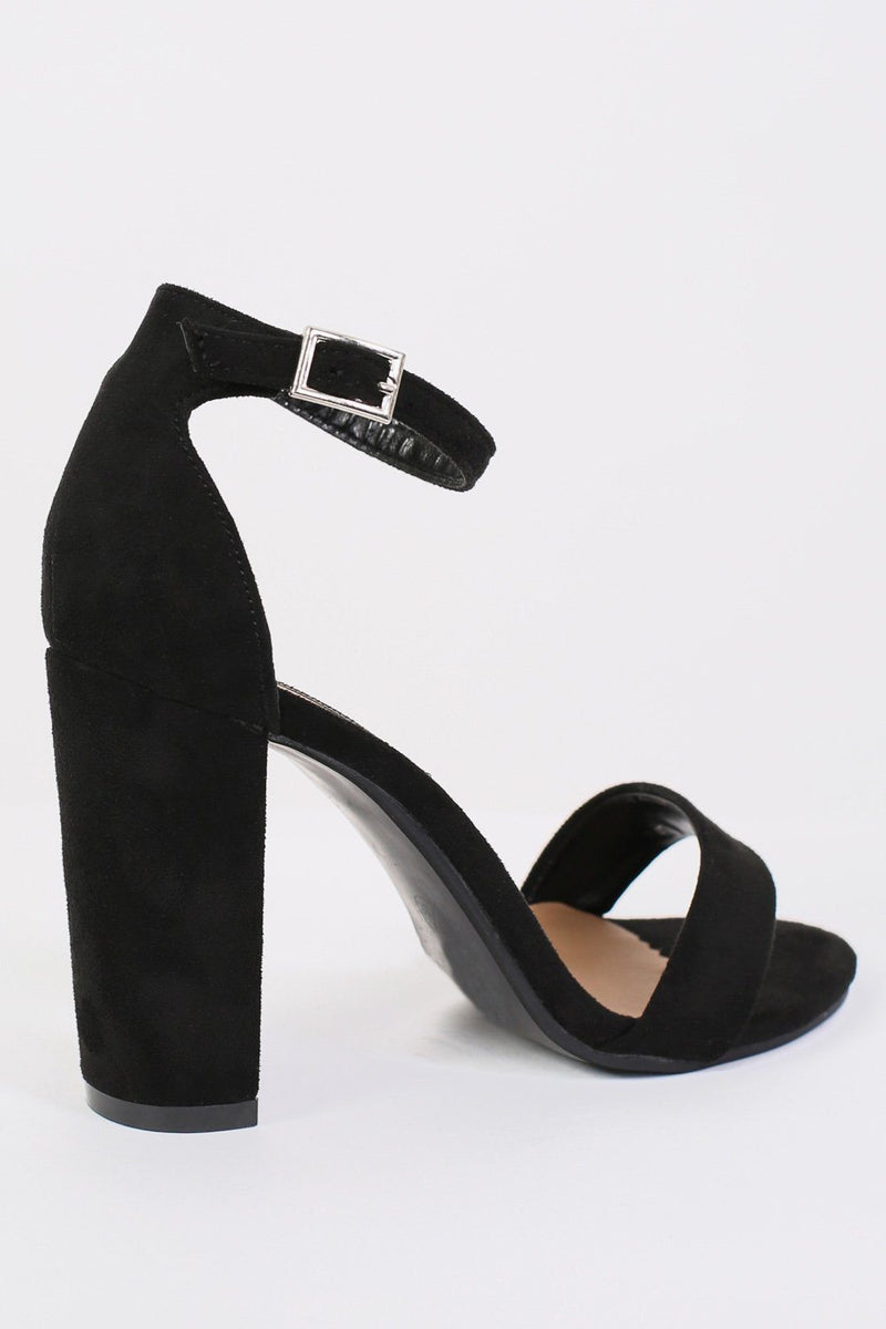 Block Heel Barely There Strappy Sandals in Black 5