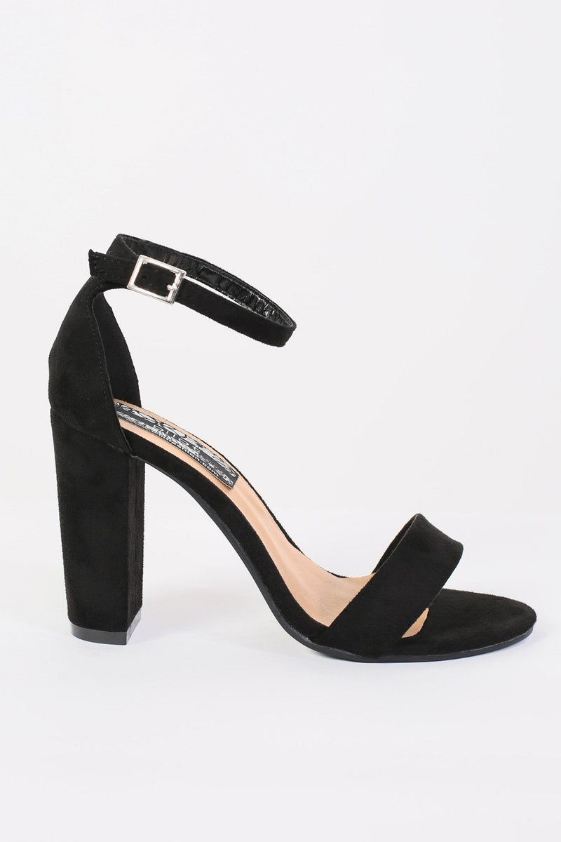 Block Heel Barely There Strappy Sandals in Black 4