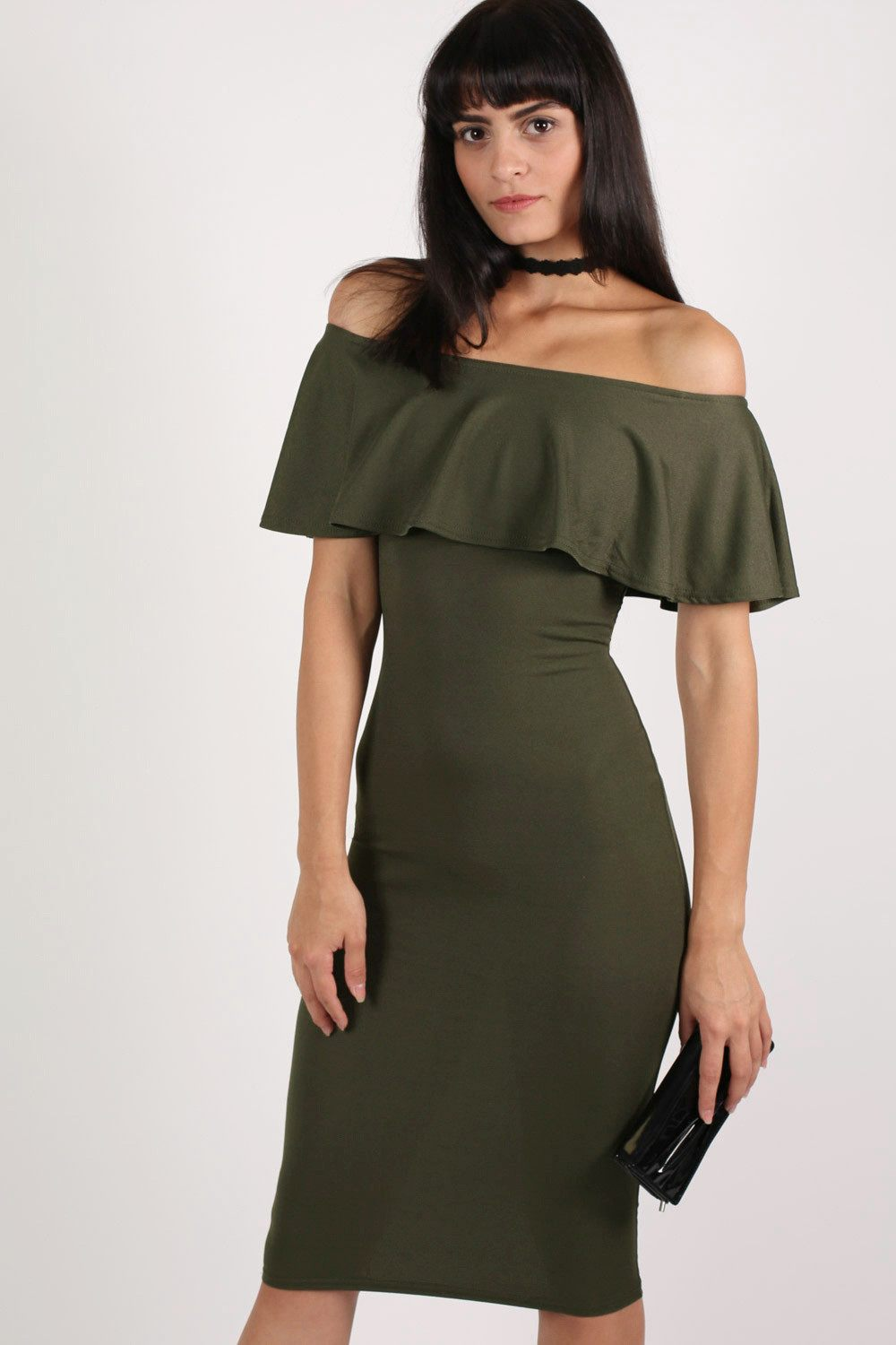 Off Shoulder Deep Frill Bodycon Midi Dress in Khaki Green MODEL FRONT