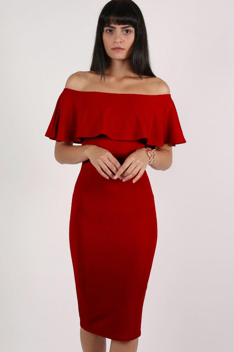 Off Shoulder Deep Frill Bodycon Midi Dress in Red MODEL FRONT