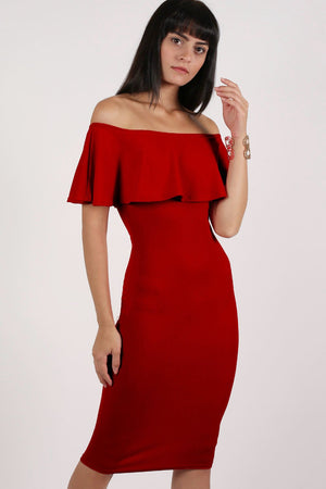 Off Shoulder Deep Frill Bodycon Midi Dress in Red MODEL FRONT 2