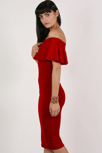 Off Shoulder Deep Frill Bodycon Midi Dress in Red MODEL SIDE