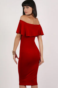 Off Shoulder Deep Frill Bodycon Midi Dress in Red MODEL BACK