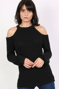 Chunky Cold Shoulder Long Sleeve Jumper in Black 1
