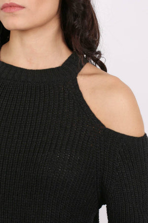 Chunky Cold Shoulder Long Sleeve Jumper in Black 2