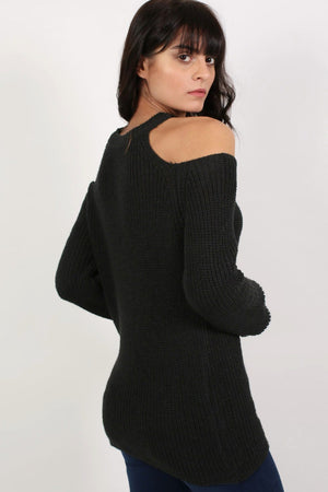 Chunky Cold Shoulder Long Sleeve Jumper in Black 3