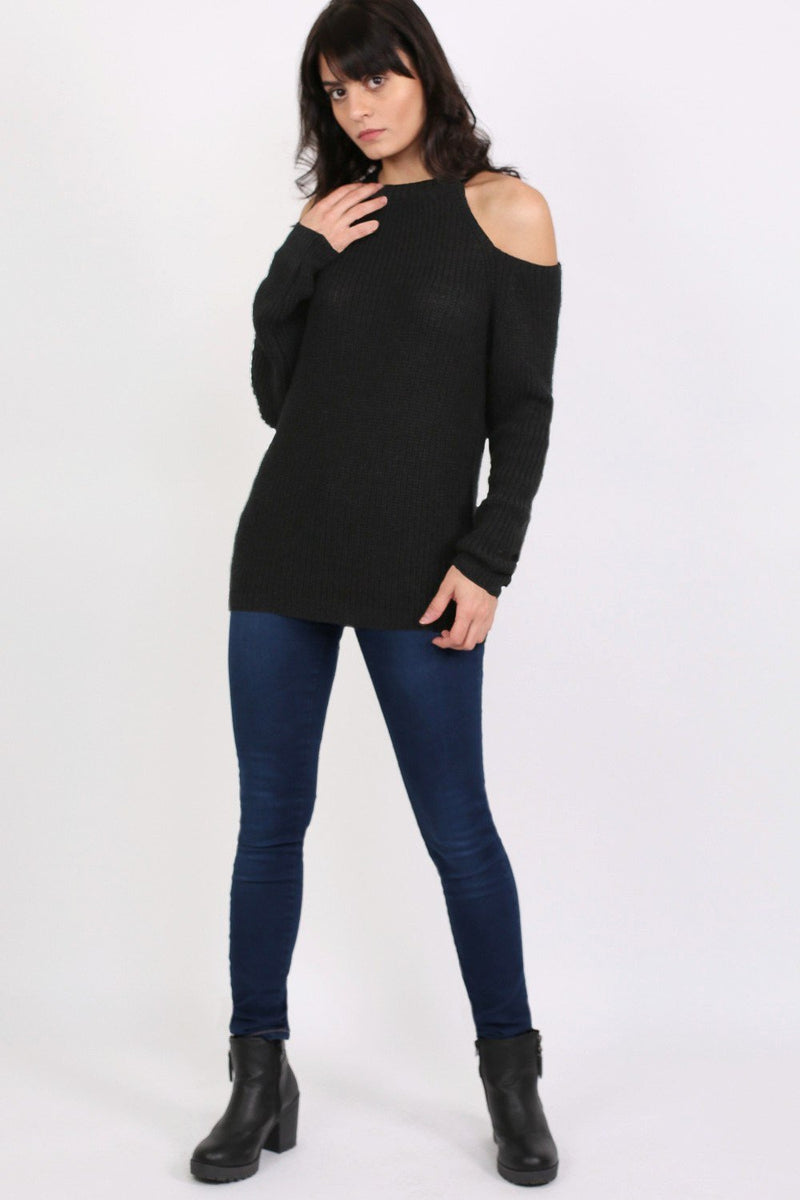 Chunky Cold Shoulder Long Sleeve Jumper in Black 4