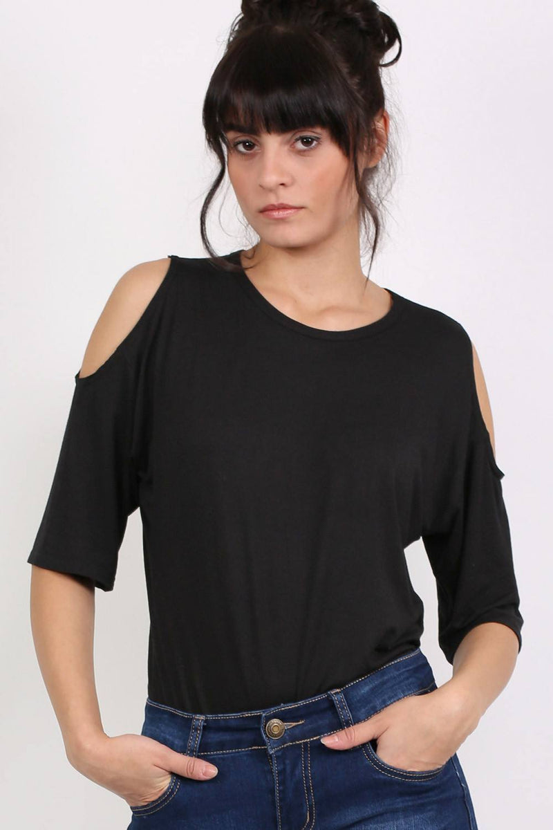 Cold Shoulder Tunic Top in Black 1