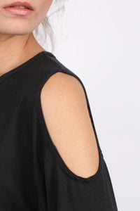 Cold Shoulder Tunic Top in Black 2