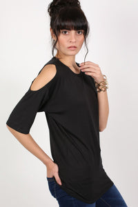 Cold Shoulder Tunic Top in Black 3