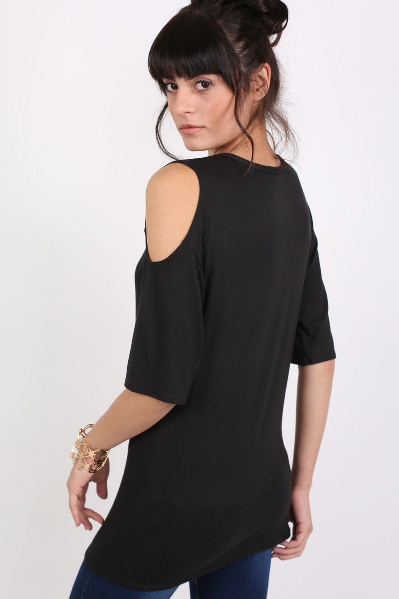 Cold Shoulder Tunic Top in Black 4