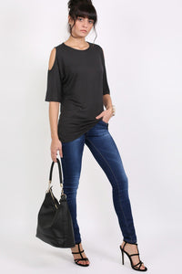 Cold Shoulder Tunic Top in Black 5